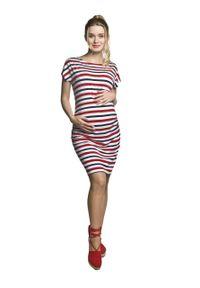 e-margeritka - Sukienka ciążowa ołówkowa w paski na lato - l, czerwony. Okazja: na co dzień. Kolekcja: moda ciążowa. Kolor: czerwony. Materiał: wiskoza, materiał, elastan. Wzór: paski. Sezon: lato. Typ sukienki: ołówkowe. Styl: wakacyjny, casual