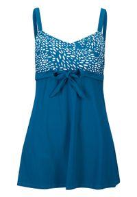 Sukienka kąpielowa shape Level 1 bonprix niebieskozielony - biały z nadrukiem. Kolor: niebieski. Wzór: nadruk