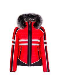Czerwona kurtka narciarska Sportalm na zimę, z podwójnym kołnierzykiem
