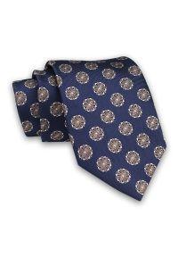 Granatowy Męski Krawat -Chattier- 8 cm, Klasyczny, Elegancki, w Beżowy Wzór Florystyczny. Kolor: niebieski, beżowy, brązowy, wielokolorowy. Materiał: tkanina. Wzór: kwiaty. Styl: klasyczny, elegancki