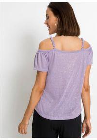 Shirt cold-shoulder z brokatowym połyskiem bonprix w kolorze bzu. Kolor: fioletowy. Długość rękawa: na ramiączkach