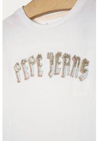 Biała bluzka z krótkim rękawem Pepe Jeans z aplikacjami, casualowa