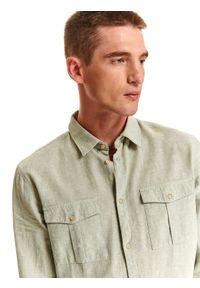 TOP SECRET - Koszula z lnem o dopasowanym kroju. Kolor: zielony. Materiał: len. Długość rękawa: długi rękaw. Długość: długie. Sezon: lato, wiosna #8
