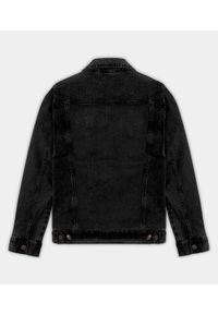 Czarna kurtka jeansowa MegaKoszulki klasyczna, na wiosnę