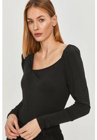 Czarna bluzka z długim rękawem Vero Moda casualowa, z dekoltem karo, na co dzień