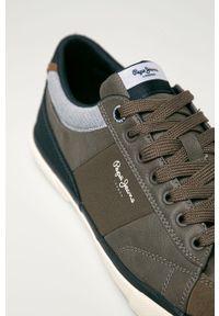Szare sneakersy Pepe Jeans z cholewką, na sznurówki, z okrągłym noskiem