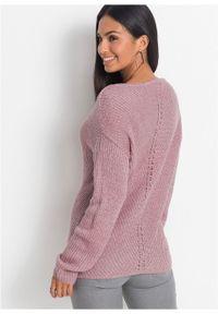 Różowy sweter bonprix melanż, elegancki