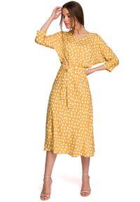 Żółta sukienka MOE midi, w grochy
