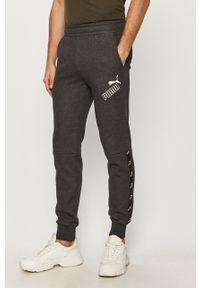 Szare spodnie dresowe Puma z nadrukiem