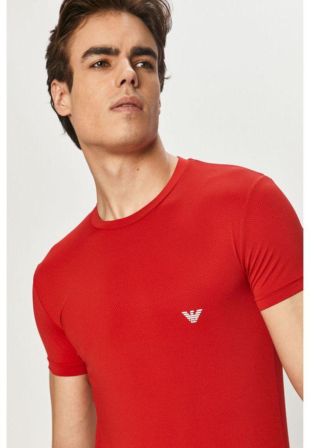 Czerwony t-shirt Emporio Armani gładki