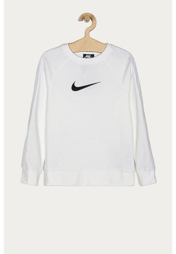 Biała bluza Nike Kids na co dzień, raglanowy rękaw, bez kaptura, casualowa