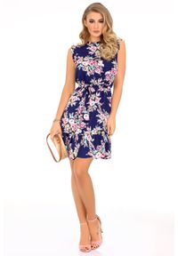 Sukienka wizytowa Merribel w kwiaty, z falbankami, na lato