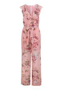 Happy Holly Elegancki kombinezon Scarlett różowy we wzory female różowy/ze wzorem 44/46. Kolor: różowy. Materiał: szyfon, materiał. Długość: do ud. Wzór: gładki, aplikacja. Styl: elegancki
