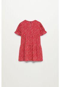 Czerwona sukienka Mango Kids rozkloszowana, mini, z krótkim rękawem