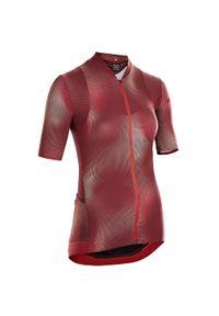 VAN RYSEL - Koszulka rowerowa damska Van Rysel RCR. Kolor: czerwony. Materiał: tkanina, mesh. Długość rękawa: krótki rękaw. Długość: krótkie. Sport: kolarstwo