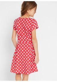 Sukienka dziewczęca shirtowa w groszki bonprix czerwono-biały w groszki. Kolor: czerwony. Wzór: grochy #2