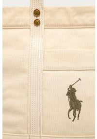 Kremowa shopperka Polo Ralph Lauren na ramię, z aplikacjami, z aplikacjami, duża