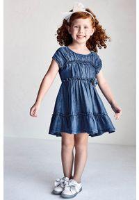 Niebieska sukienka Mayoral rozkloszowana, mini, gładkie
