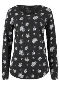 Czarna bluzka bonprix z nadrukiem, długa, z długim rękawem