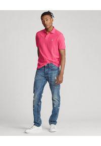 Ralph Lauren - RALPH LAUREN - Różowa koszulka polo Slim Fit Mesh. Typ kołnierza: polo. Kolor: wielokolorowy, fioletowy, różowy. Materiał: mesh. Długość: długie. Wzór: haft #3