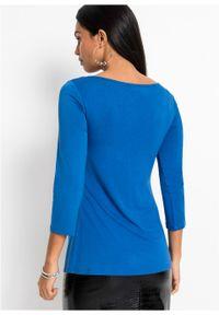 Niebieska bluzka bonprix długa, z długim rękawem