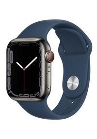 APPLE - Smartwatch Apple Watch 7 GPS+Cellular 41mm stal, grafit | błękitna toń pasek sportowy. Rodzaj zegarka: smartwatch. Kolor: niebieski. Styl: sportowy