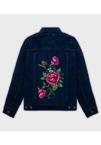 MegaKoszulki - Kurtka jeansowa damska damska Róża. Materiał: jeans. Wzór: nadruk. Sezon: wiosna. Styl: klasyczny