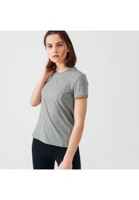 KALENJI - Koszulka do biegania damska Kalenji Run Soft. Kolor: zielony, brązowy, wielokolorowy. Materiał: materiał, poliester. Sport: bieganie