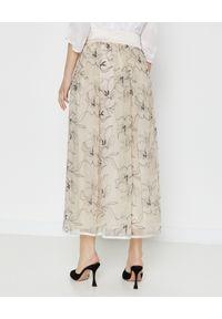 PESERICO - Beżowa suknia w kwiaty. Kolor: beżowy. Materiał: materiał. Wzór: kwiaty