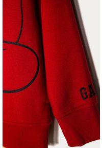 Czerwona bluza rozpinana GAP z nadrukiem, casualowa, na co dzień, z kapturem