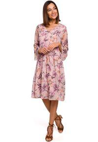 e-margeritka - Sukienka szyfonowa w kwiaty różowa - s. Kolor: różowy. Materiał: szyfon. Wzór: kwiaty. Sezon: lato, wiosna. Długość: midi