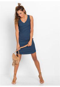 Sukienka shirtowa bonprix głęboki niebieski. Kolor: niebieski. Wzór: prążki