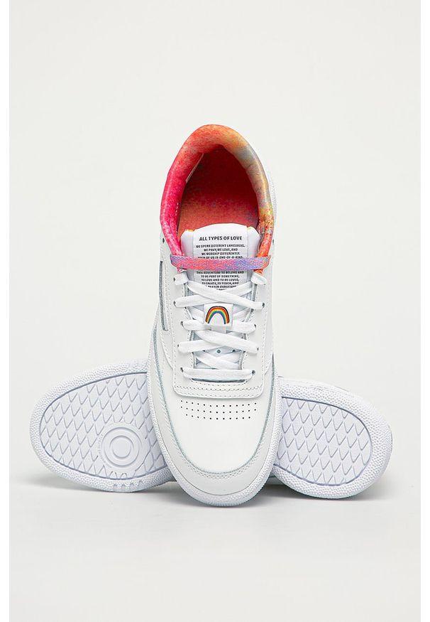 Białe buty sportowe Reebok Classic na sznurówki, z cholewką, Reebok Classic, z okrągłym noskiem