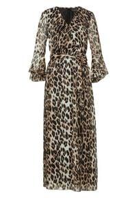 Sukienka maxi bonprix wielbłądzia wełna - jasnobrązowo-czarny leo z nadrukiem. Kolor: beżowy. Materiał: wełna. Wzór: nadruk. Długość: maxi