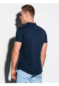 Ombre Clothing - Koszula męska z krótkim rękawem K543 - granatowa - XXL. Typ kołnierza: kołnierzyk stójkowy. Kolor: niebieski. Materiał: bawełna, tkanina, materiał. Długość rękawa: krótki rękaw. Długość: krótkie. Wzór: kolorowy. Sezon: lato
