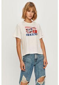 Biała bluzka Tommy Jeans z okrągłym kołnierzem, na co dzień, casualowa