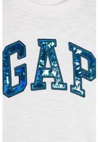 Biała koszulka z długim rękawem GAP na co dzień, z nadrukiem, casualowa