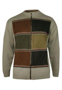 Beżowy sweter Kings na zimę, ze stójką, w geometryczne wzory