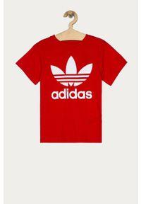 Czerwona bluzka z krótkim rękawem adidas Originals z nadrukiem, casualowa, na co dzień