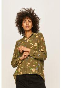 Zielona koszula only w kwiaty, casualowa, na co dzień, z klasycznym kołnierzykiem