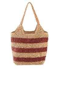 Torba słomkowa shopper bonprix brązowy marsala. Kolor: czerwony. Wzór: paski