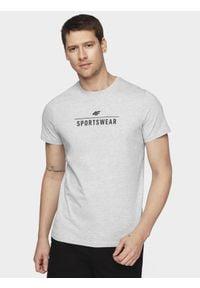 4f - T-shirt męski. Kolor: szary. Materiał: dzianina, jersey