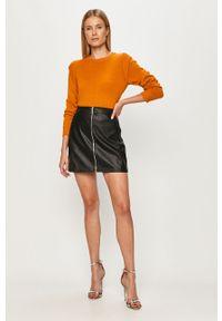 Pomarańczowy sweter Noisy may na co dzień, długi, z długim rękawem, z okrągłym kołnierzem
