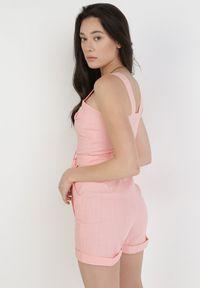 Born2be - Różowy Kombinezon Thronypise. Kolor: różowy. Materiał: bawełna, materiał, elastan. Długość rękawa: na ramiączkach. Długość: krótkie