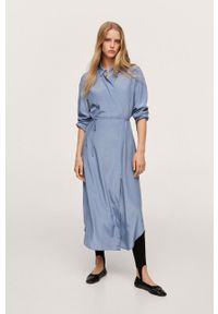mango - Mango - Sukienka Rain. Kolor: niebieski. Materiał: włókno. Długość rękawa: długi rękaw