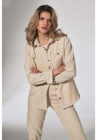 Figl - Klasyczna Koszula Damska - Beżowa. Kolor: beżowy. Materiał: elastan, nylon, poliester. Styl: klasyczny