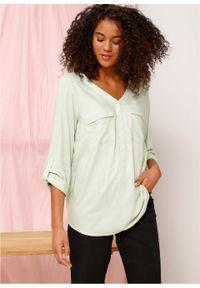 Zielona bluzka bonprix z dekoltem w serek, długa
