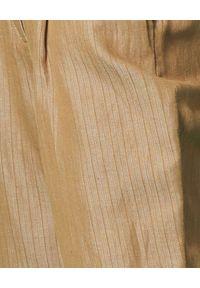 Manila Grace - MANILA GRACE - Brązowe spodnie w prążki. Kolor: brązowy. Materiał: materiał. Długość: długie. Wzór: prążki