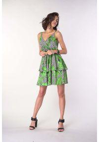 Nommo - Sukienka na Ramiączkach z Zakładanym Dekoltem - Liście. Materiał: wiskoza, poliester. Długość rękawa: na ramiączkach