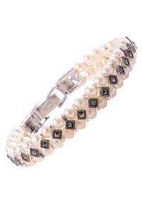 Braccatta - DARIA Srebrna bransoletka z markazytami i perłami. Materiał: srebrne. Kolor: srebrny. Wzór: ażurowy, aplikacja. Kamień szlachetny: markazyt, perła